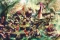 Картинка вода, деревья, камни, скалы, арт, vocaloid, hatsune miku