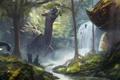 Картинка лес, река, люди, водопад, арт, динозавры