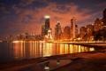 Картинка ночь, город, огни, река, небоскребы, Чикаго, Иллиноис