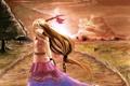 Картинка девушка, пейзаж, закат, арт, цепь, дорожка, рога