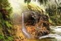 Картинка деревья., лес, река, камни, водопад