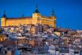 Картинка замок, башня, дома, склон, холм, испания, Toledo