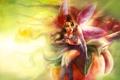 Картинка цветок, девушка, крылья, фея, арт, сидит, art