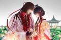 Картинка девушка, лотос, парень, vocaloid, кувшинки, luo tianyi, yi dianxia