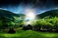 Картинка лес, ночь, дом, звёзды, стог, сено, Холмы