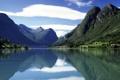 Картинка лес, горы, озеро, дома, Природа