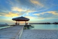 Картинка песок, море, пляж, небо, облака, закат, природа