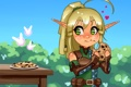 Картинка глаза, взгляд, девушка, эльф, печенье, арт, светлячок