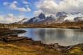 Картинка осень, трава, облака, горы, озеро, скалы