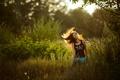 Картинка поле, девушка, закат, обои