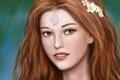 Картинка взгляд, девушка, цветы, лицо, улыбка, волосы, арт