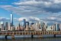 Картинка мост, здания, Нью-Йорк, панорама, Манхэттен, Manhattan, New York City
