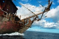 Картинка облака, небо, пираты карибского моря, паруса, корабль, море
