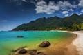 Картинка пляж, горы, побережье, Малайзия, Malaysia, Langkawi, Andaman Sea