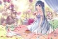 Картинка девушка, птицы, еда, арт, пикник, vocaloid, hatsune miku