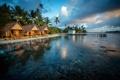 Картинка вода, город, тропики, фото, побережье, бунгало, Французская Полинезия