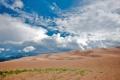 Картинка песок, пейзаж, горы, небо, облака