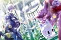 Картинка девушка, природа, аниме, маска, арт, лестница, парень