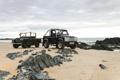 Картинка машина, пляж, автомобиль, rover, land, defender, svx