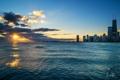 Картинка закат, река, мичиган, вечер, город, Иллиноис, небоскребы