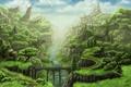 Картинка деревья, пейзаж, мост, дом, река, скалы, арт