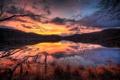 Картинка закат, лес, горы, озеро, природа