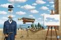 Картинка облака, часы, бутылка, volkswagen, шахматы, кепка, абсурд