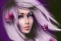 Картинка взгляд, девушка, лицо, волосы, розовые, цветки