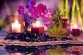 Картинка вода, цветы, свечи, бамбук, орхидеи, water, flowers