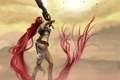 Картинка небо, девушка, птицы, оружие, волосы, меч, Heavenly Sword