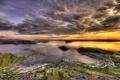 Картинка облака, сверху, горизонт, небо, Норвегия, море, город