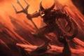 Картинка скалы, огонь, шипы, пасть, трезубец, когти, Демон