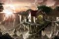 Картинка пейзаж, мост, скалы, дома, утро, арт, лестница