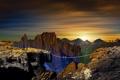 Картинка закат, горы, канат