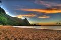 Картинка закат, горы, пляж