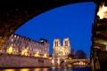 Картинка свет, ночь, мост, город, река, Франция, Париж
