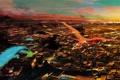 Картинка небо, облака, полет, закат, птицы, город, огни