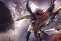 Картинка девушки, планеты, крылья, меч, катана, арт, цепи