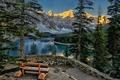 Картинка пейзаж, горы, озеро, скамья