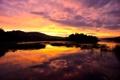 Картинка деревья, закат, озеро, холмы, вечер
