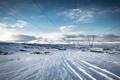 Картинка зима, снег, лэп, Iceland