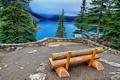 Картинка скамейка, ели, Канада, Banff National Park, Canada, Moraine Lake, Озеро Морейн
