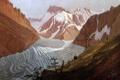 Картинка деревья, пейзаж, горы, люди, картина, ледник, Карл Густав Карус