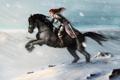 Картинка девушка, снег, горы, оружие, конь, кровь, лошадь