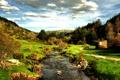 Картинка небо, трава, облака, деревья, ручей, холмы, Испания
