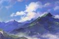 Картинка зелень, облака, горы, природа, вершины, арт
