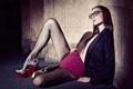 Картинка девушка, модель, очки, колготки