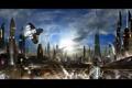 Картинка город, корабль, futuristic city