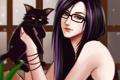 Картинка кот, девушка, черный, art, gattoshou, oshirockingham