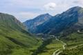 Картинка дорога, облака, горы, долина